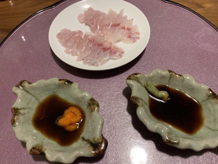 わさび醤油とぽん酢もみじ卸で食べるお刺身