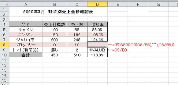 ISERROR関数を使ってエラー値を非表示にする